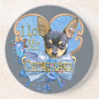 I Love My Chihuahua in Blue Heart Coaster