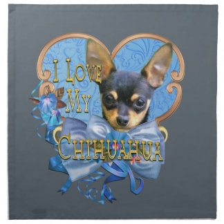 I Love My Chihuahua in Blue Heart Napkin