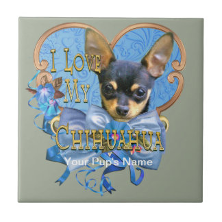 I Love My Chihuahua in Blue Heart Tile