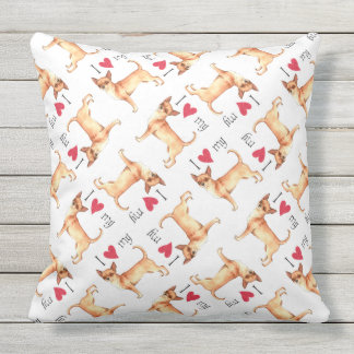 I Love my Chihuahua Outdoor Pillow