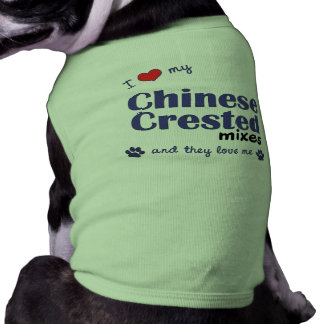 I Love My Chinese Crested Mixes (Multiple Dogs) Dog Tee Shirt
