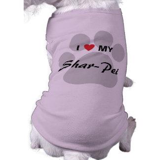 I Love My Chinese Shar-Pei Pawprint Doggie T-shirt