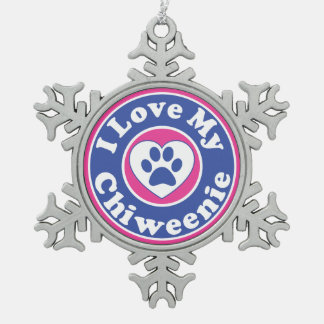 I Love My Chiweenie Dog Puppy Puppies Snowflake Pewter Christmas Ornament