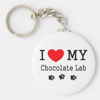 I Love My Chocolate Lab Keychain
