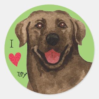 I Love my Chocolate Lab Round Sticker