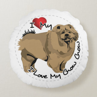 I Love My Chow Chow Dog Round Pillow