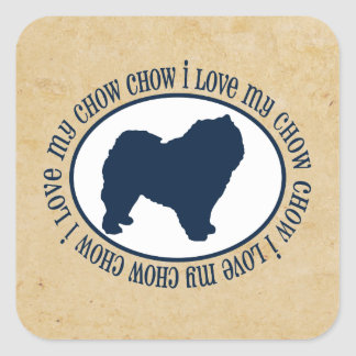 I Love My Chow Chow Square Sticker