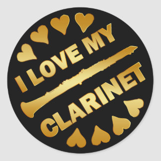 I LOVE MY CLARINET CLASSIC ROUND STICKER