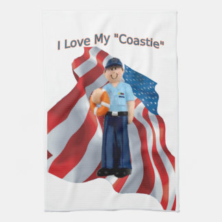 I Love My Coastie Flag Kitchen Towel