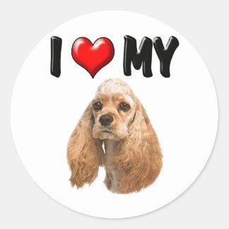 I Love My Cocker Spaniel Classic Round Sticker