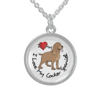 I Love My Cocker Spaniel Dog Sterling Silver Necklace