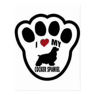 I love my Cocker Spaniel Paw Print Postcard
