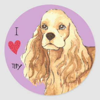 I Love my Cocker Spaniel Round Sticker