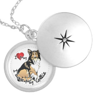 I Love My Collie Dog Silver Plated Necklace