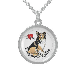 I Love My Collie Dog Sterling Silver Necklace