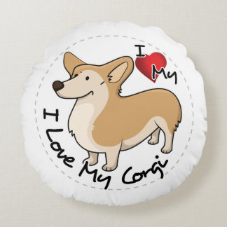 I Love My Corgi Dog Round Pillow