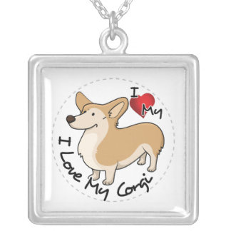 I Love My Corgi Dog Silver Plated Necklace