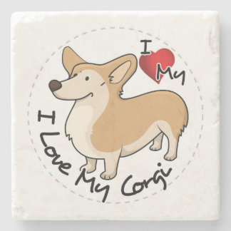 I Love My Corgi Dog Stone Coaster