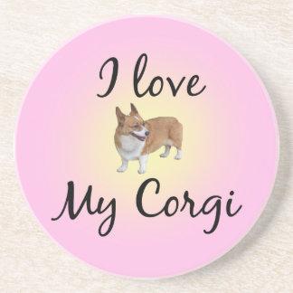 I Love My Corgi Drink Coaster