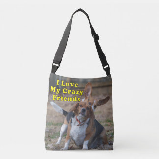 I Love My Crazy Friends Beagle Dog Crossbody Bag