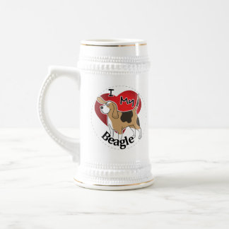 I Love My Cute Funny Happy & Adorable Beagle Dog Beer Stein