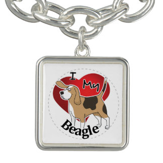 I Love My Cute Funny Happy & Adorable Beagle Dog Charm Bracelet
