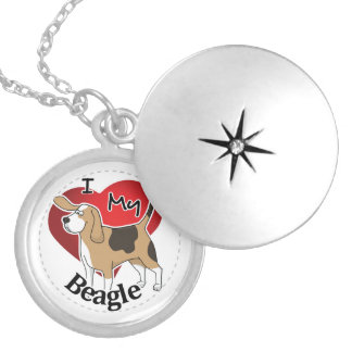 I Love My Cute Funny Happy & Adorable Beagle Dog Locket Necklace