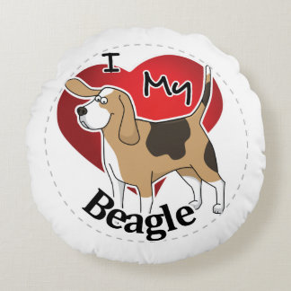 I Love My Cute Funny Happy & Adorable Beagle Dog Round Pillow