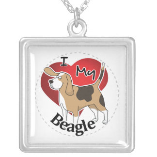 I Love My Cute Funny Happy & Adorable Beagle Dog Silver Plated Necklace