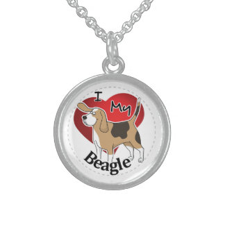 I Love My Cute Funny Happy & Adorable Beagle Dog Sterling Silver Necklace