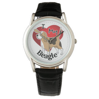 I Love My Cute Funny Happy & Adorable Beagle Dog Wrist Watch