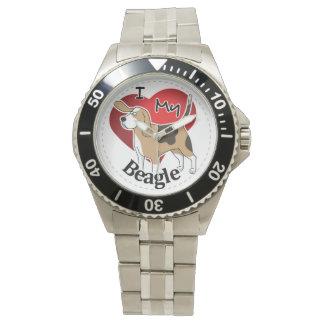 I Love My Cute Funny Happy & Adorable Beagle Dog Wristwatch