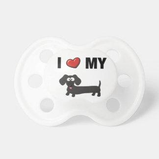 I love my dachshund (black) baby pacifier