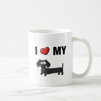 I love my dachshund (black) coffee mug