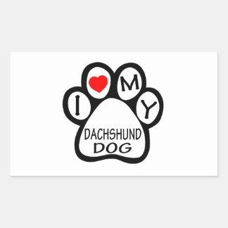 I Love My Dachshund Dog Rectangular Stickers