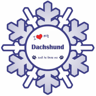 I Love My Dachshund (Male Dog) Photo Sculpture Ornament