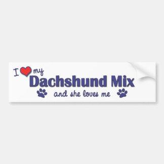 I Love My Dachshund Mix (Female Dog) Bumper Sticker