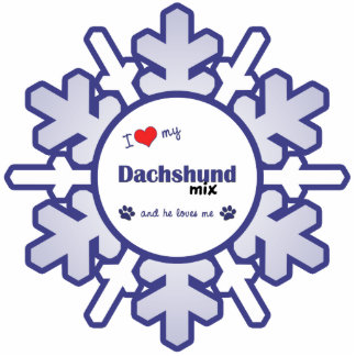 I Love My Dachshund Mix (Male Dog) Photo Sculpture Ornament