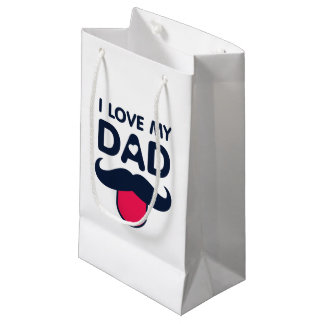 I love my dad cute moustache icon small gift bag