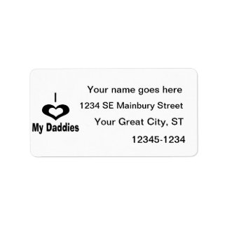 I love my daddies Daddy design with heart Label