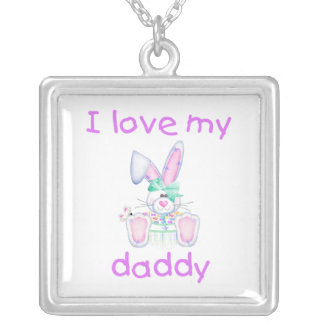 I Love My Daddy (girl bunny) Silver Plated Necklace