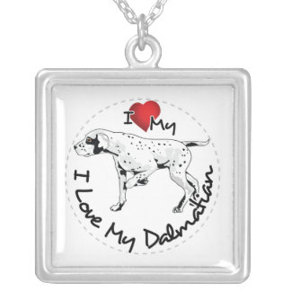 I Love My Dalmatian Dog Silver Plated Necklace