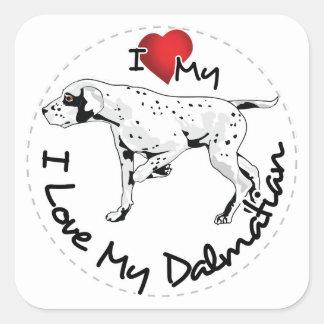 I Love My Dalmatian Dog Square Sticker