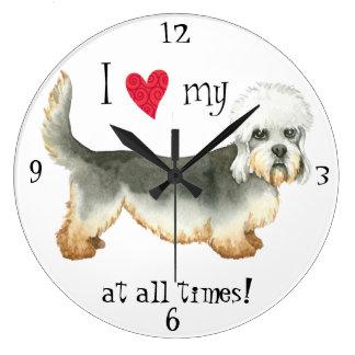 I Love my Dandie Dinmont Terrier Large Clock