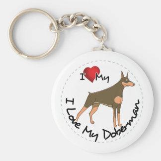I Love My Doberman Dog Keychain