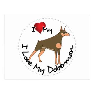 I Love My Doberman Dog Postcard