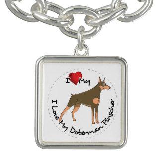 I Love My Doberman Pinscher Dog Bracelets