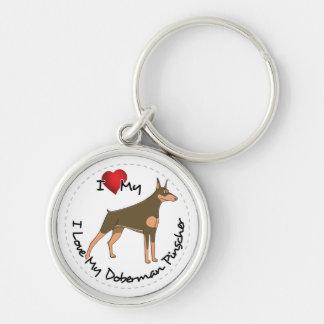 I Love My Doberman Pinscher Dog Keychain
