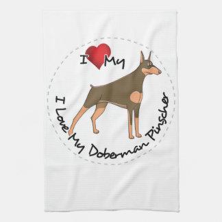 I Love My Doberman Pinscher Dog Kitchen Towel