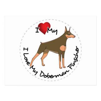 I Love My Doberman Pinscher Dog Postcard